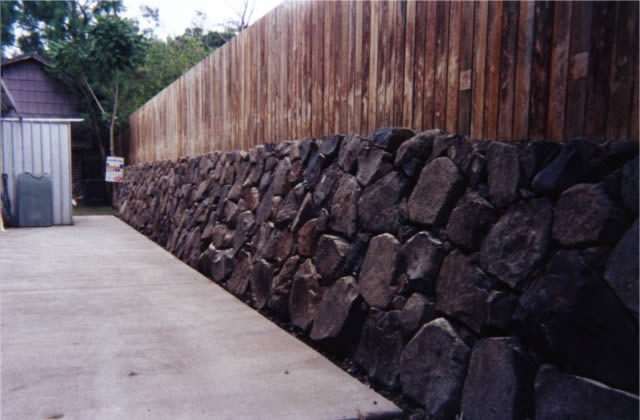 Hand Placed Bush Rock Retaining Walls