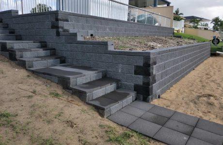 Heron concrete blocks plus matching steps - Mermaid Waters - Australian Retaining Walls 1